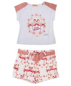 Conjunto Infantil Menina  Dois Flamingos