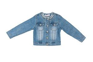 Jaqueta Jeans Infantil Menina Perolas