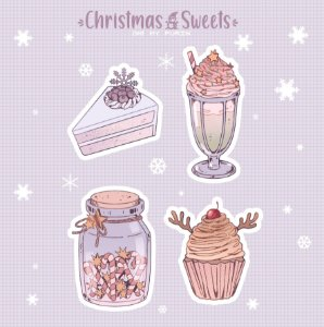 Cartela de adesivos - Christmas Sweets!