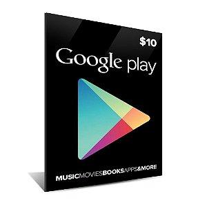 Cartão Google Play $10 Dólares