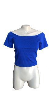 TOP CROPPED CANELADO AZUL ROYAL