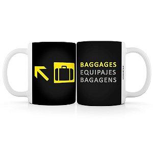 Caneca sinalização de aeroportos bagagens
