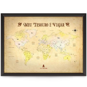 Mapa mundi Meu tesouro é viajar