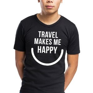 Camiseta travel makes me happy