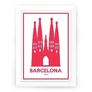 Pôster Barcelona com moldura