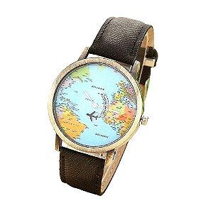 Relógio mapa mundi