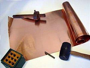 Folha de Cobre 0,10mm x 29cm X 1 metro (Latonagem)