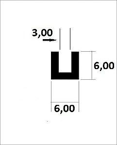 Perfil U De Aluminio com abas iguais 6,00mm