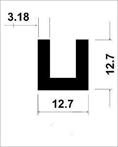Perfil U De Aluminio 1/2 X 1/8 = (1,27cm X 3,17mm)