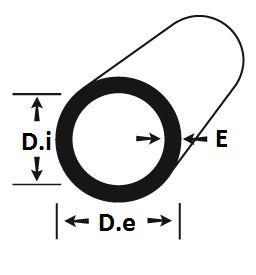 """Tubo Redondo aluminio 1"""" x 3/32"""" (2,54cm x 2,38mm)"""