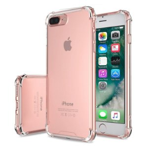 Capinhas para Iphone 7 PLUS com bordas translucida tpu silicone gel anti impacto