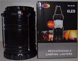 Lanterna acampar recarregável Lanterna leve 6 LED G85