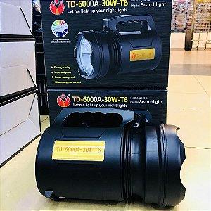 Lanterna Led Holofóte Recarregável 30w T6 Alta Potência