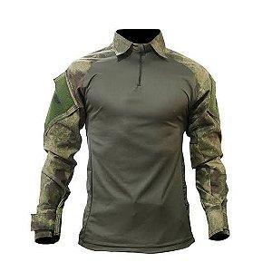 Camisa Tática Militar Combat Shirt Fox Boy Raglan Verde Atacs
