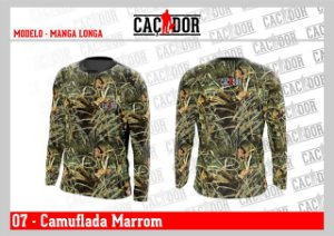 Camiseta Camuflada Manga Longa Marrom Dry Fit UV
