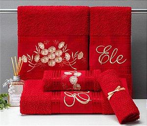 jogo de banho Aline 5 peças 100% algodão - vermelho