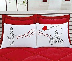 Fronha divertida namorados 2 peças 100% algodao - bicicleta