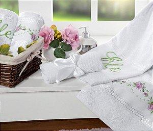 Jogo de Banho Bouquet Bordado 5 peças - Branco