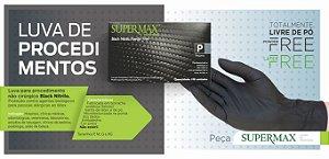 Luva para procedimento não cirúrgico sem pó – BORRACHA SINTÉTICA Supermax Powder Free Black Nitrilo