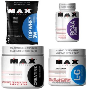 Kit Top whey 3w + Bcaa 2400 + Creatina + Brinde Glutamina