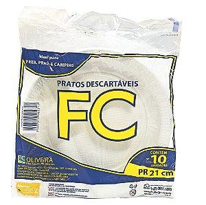 Prato Descartável N.21 Raso,FC Oliveira, Pacote C/10