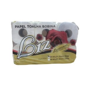 Papel Toalha Bobina Novo Liz Premium, 100% Virgem c/6 20x200m
