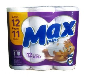 Papel Higiênico MAX Folhas Duplas 30m c/12