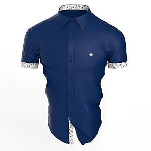 Camisa Marinho Branto Manga Curta