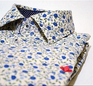 Camisa Azuzu e Azul Poá Manga Longa
