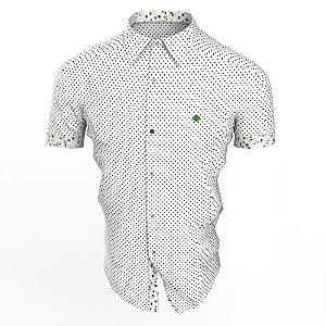 Camisa Branca Poá Branto Manga Curta