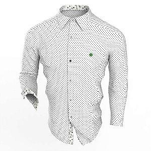 Camisa Branca Poá Branto Manga Longa