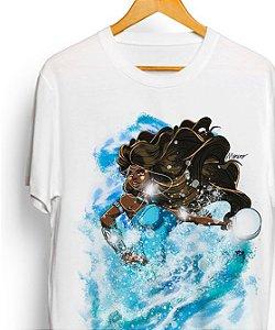 Camiseta de algodão - Yemonjá, rainha das ondas do mar