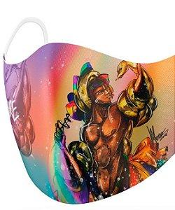 Máscara de proteção em pano -  Oxumaré, a serpente encantada
