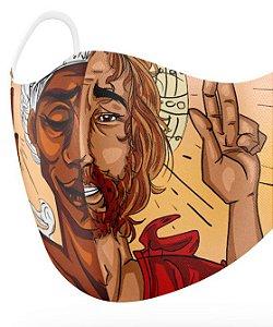 Máscara de proteção em pano - Oxalá e Jesus