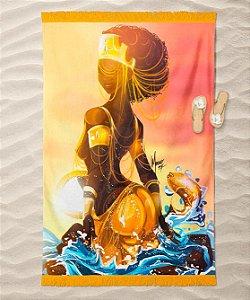 Máscara de proteção em pano -  Oxum, a rainha da beleza