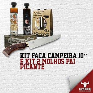 Kit Faca Campeira 10'' E KIT 2 MOLHOS (DUPLA PICANTE)