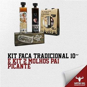 Kit Faca Tradicional 10'' E KIT 2 MOLHOS (DUPLA PICANTE)
