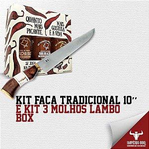 Kit Faca Tradicional 10'' E KIT 3 MOLHOS LAMBO - BOX