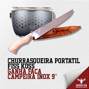 """CHURRASQUEIRA PORTÁTIL FISS KOSS – GANHE FACA CAMPEIRA INOX 9"""""""