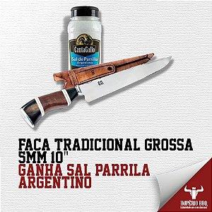 """FACA TRADICIONAL GROSSA 5MM 10"""" – GANHE SAL DE PARRILA – ARGENTINO"""