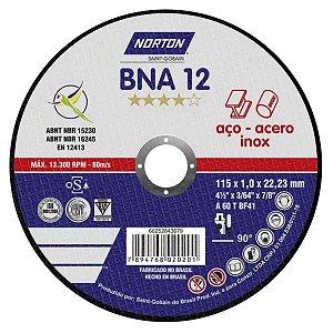 Disco de Corte Inox Fino 115mm NORTON BNA-12