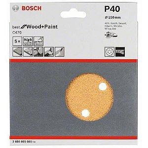 Disco de Lixa com Velcro 150mm 6 furos Grão 40 Best For Wood+Paint BOSCH