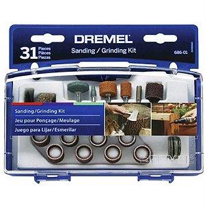 Kit Dremel 31 acessórios para lixar e esculpir - 686-01