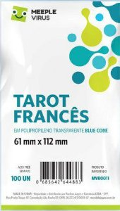 Sleeves Meeple Virus: Tarot Francês (61 x 112 mm) Blue Core – Pacote c/ 100