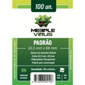 Sleeves Meeple Virus: Padrão (63,5 X 88 mm) – Pacote C/100
