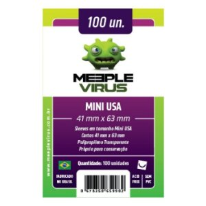 Sleeves Meeple Virus: Mini USA (41 x 63 mm) – Pacote c/100