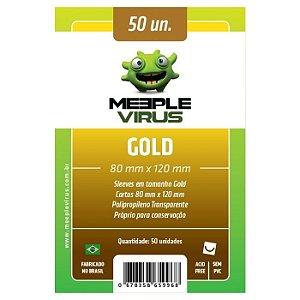 Sleeves Meeple Virus: Gold (80 x 120 mm) – Pacote c/50