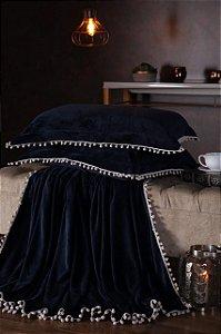 Manta Fleece Plush Pesado Com Pompom Queen 3 Peças Marinho