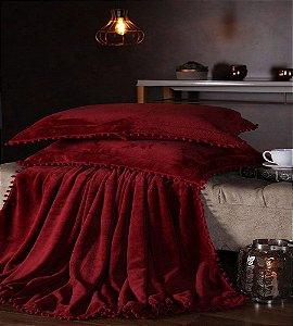 Manta Fleece Plush Pesado Com Pompom Queen 3 Peças Vermelho
