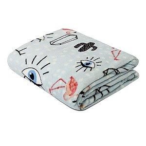 Mantinha Soft Fleece Premium 2,00 x 1,80m - Olhos e Flamingos